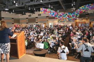 The Tri-City Regional Chamber of Commerce ended its annual meeting and awards luncheon on March 28 by dropping a net full of colorful balloons. Business on a Roll Award winners announced at the meeting were Burt Tax and Accounting of Kennewick (10 or fewer employees), Teknologize of Kennewick (11 to 50 employees) and I-3 Global of Kennewick (more than 50 employees).  (Courtesy Tri-City Regional Chamber of Commerce)