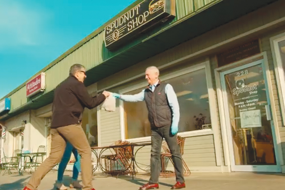 A promotional video from Visit Tri-Cities touts the message of supporting local businesses by using carryout and curbside pickup services. It features retired Gen. James Mattis, former U.S. Secretary of Defense and Richland native, picking up Spudnuts in the Richland Uptown. (Courtesy Visit Tri-Cities)
